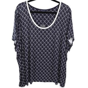 Tommy Hilfiger Womens Top Blue White Rope Print